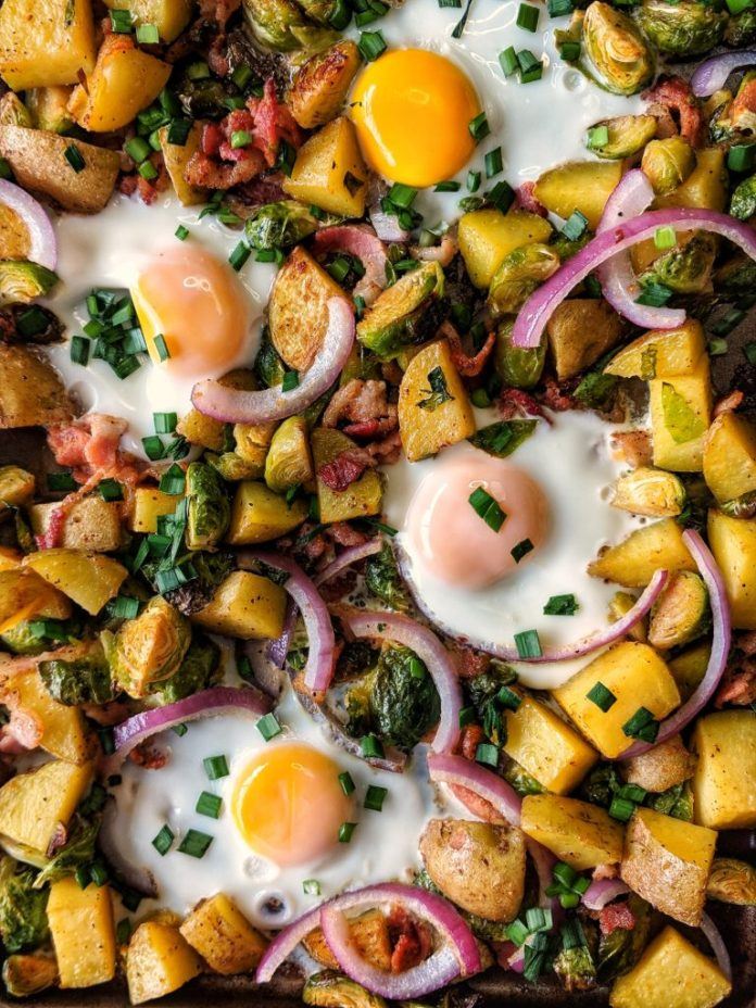Whole30 Sheet Pan Breakfast Bake with Potatoes, Brussels Sprouts and Bacon