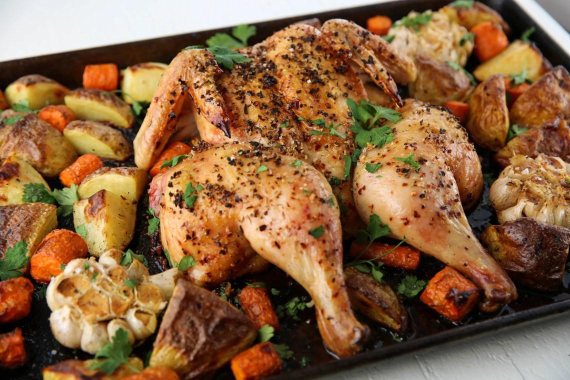 Easy Sheet Pan Spatchcock Chicken Dinner - PaleOMG.com