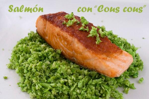 Salmón a la plancha con cous cous de brocoli