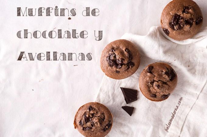 Muffins de avellanas y chocolate (sin gluten, sin lactosa)