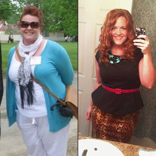 "Laura's ""before"" and ""after"" photos...she's lost 60 lbs. and dropped 5 jeans sizes so far!"