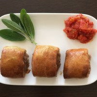 Pork and Sage Sausage Rolls with Homestyle Tomato Sauce - Grain & Gluten Free, Paleo/Primal
