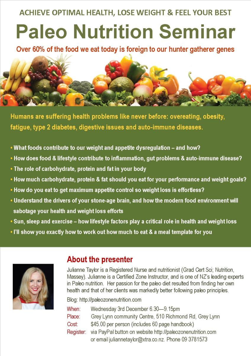 Paleo nutrition seminars in Dunedin and Auckland ...