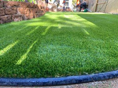 Backyard sod installation