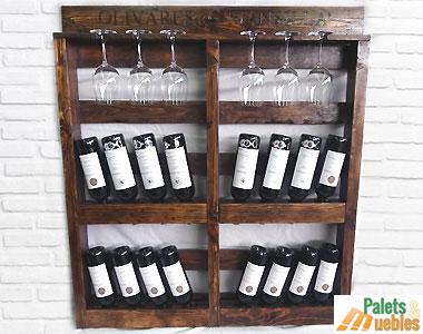 Botellero hecho con palets reciclados palets y muebles - Botelleros para bares ...