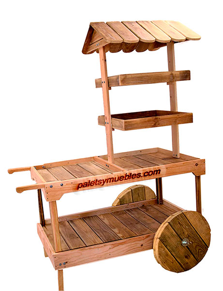 Carrito para eventos desmontable con tablas de palets for Diseno muebles hechos palets