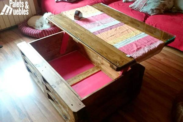 mesa de centro con almacenaje