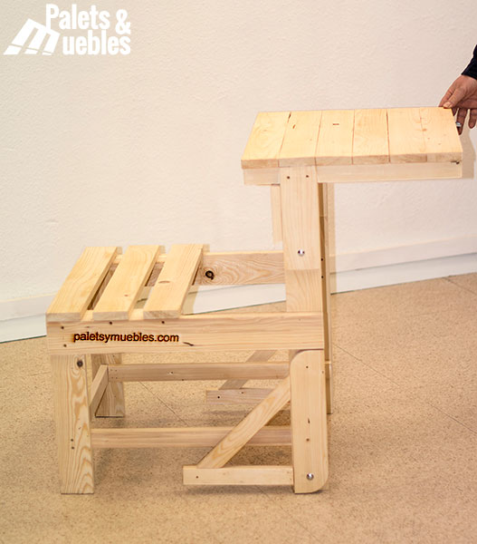 Banco mesa de palets ampliable palets y muebles - Mesa de palets bricolaje ...