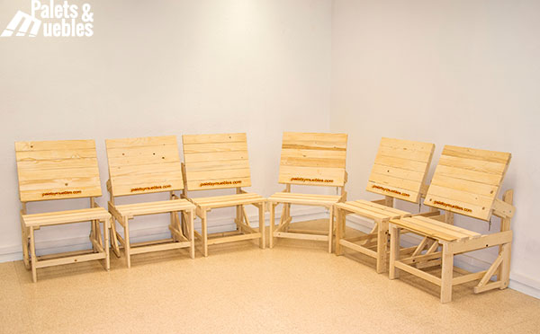 Banco mesa de palets ampliable palets y muebles - Sillas hechas con palets ...