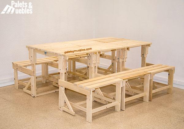 Banco mesa de palets ampliable palets y muebles - Sillon hecho de palets ...