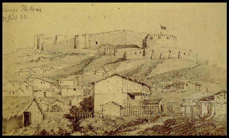 3. Το φρούριο των Πατρών σε σχέδιο με μολυβί τού Χριστιανού Χάνσεν, 31 Ιουλίου 1833.jpg