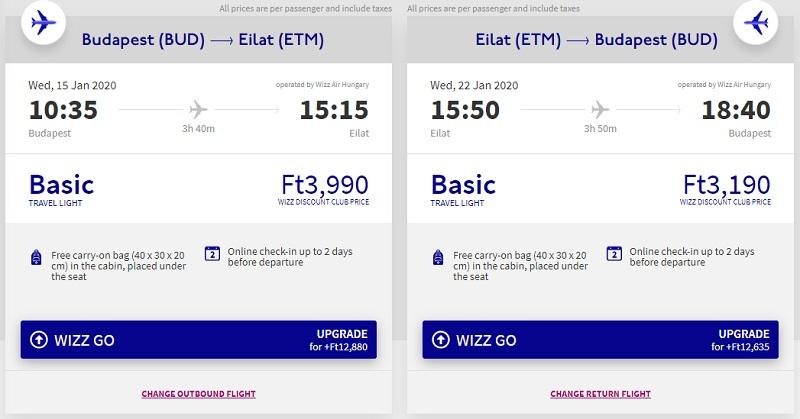 budapest eilat wizz air