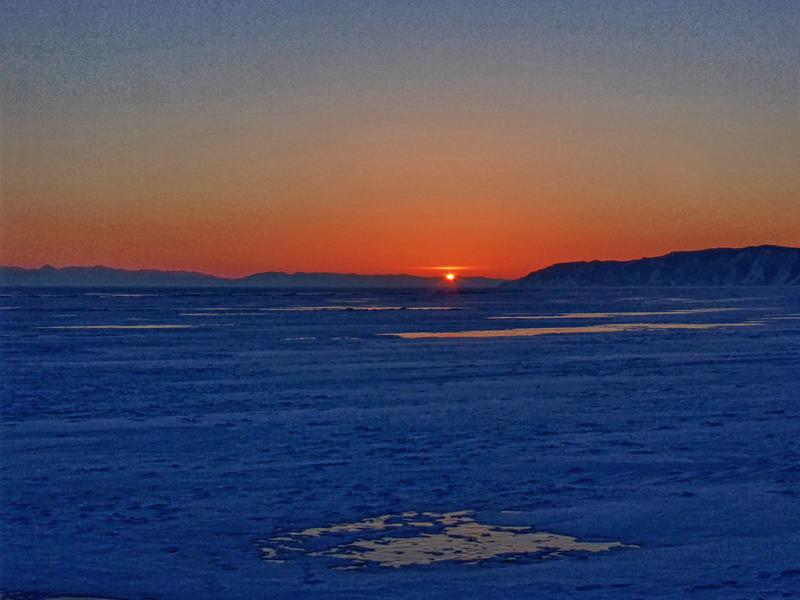 lake baikal frozen sunset