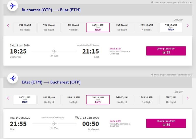 Bucharest Eilat Wizz Air