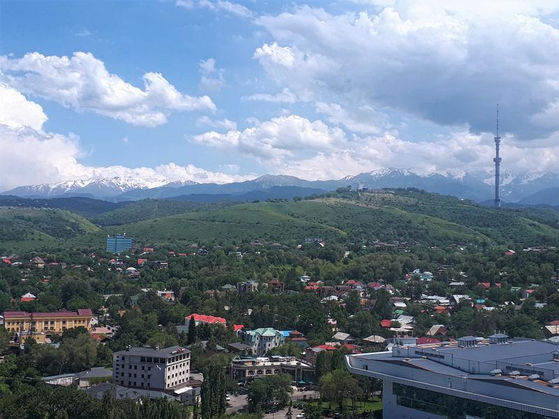 almaty view mountains kazakhstan