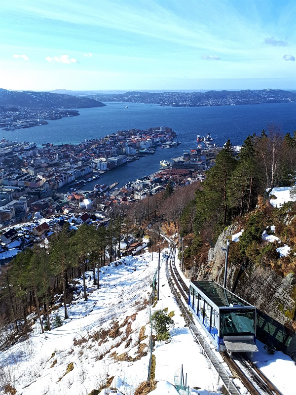 funicular bergen norway view fjord