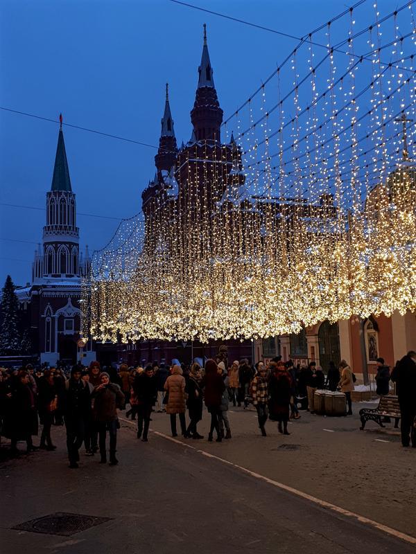 lights moscow kremlin streets