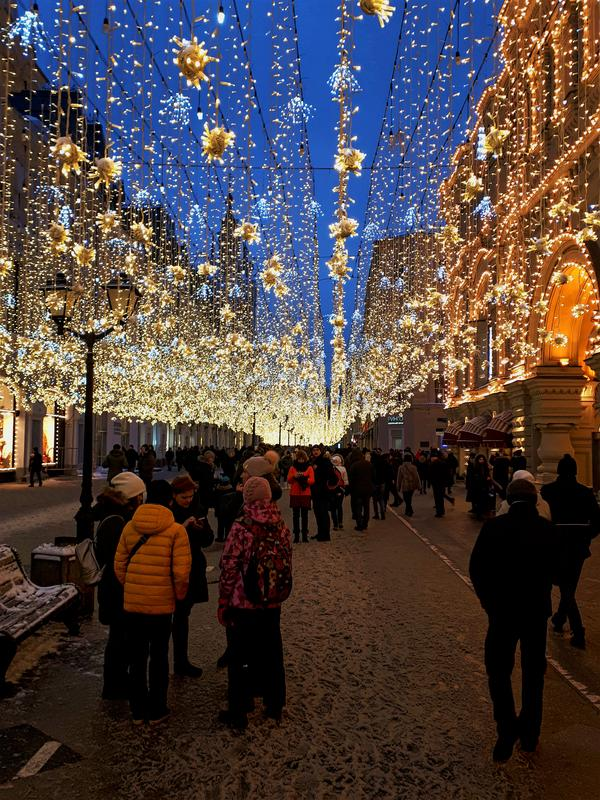 winter lights kremlin moscow