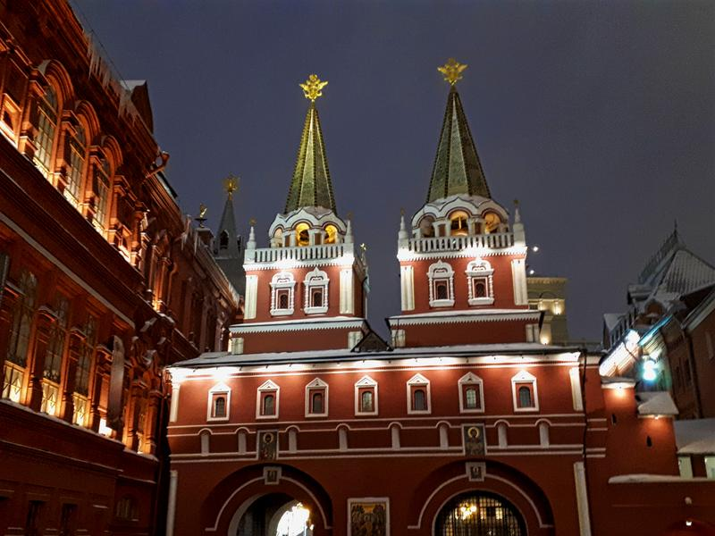 red square night moscow