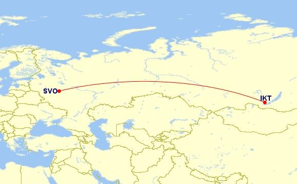 moscow irkutsk flight route