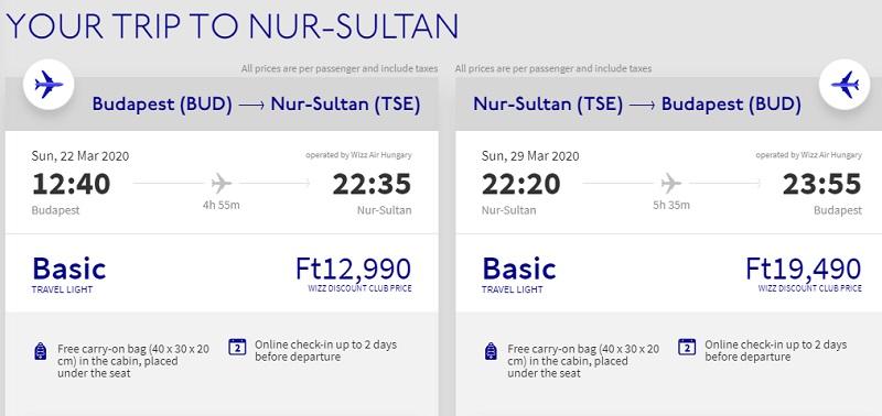 kazakhstan cheap flight hungary budapest wizz air