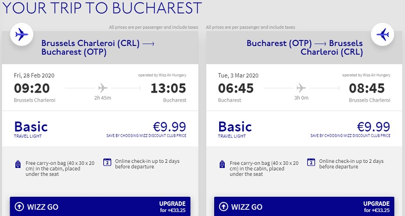 wizzair charleroi bucharest flight deal cheap ticket