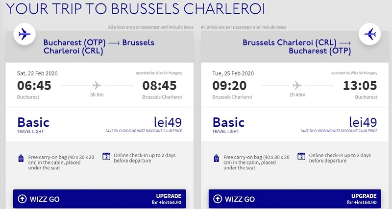 bucharest charleroi cheap ticket flight deal wizz air