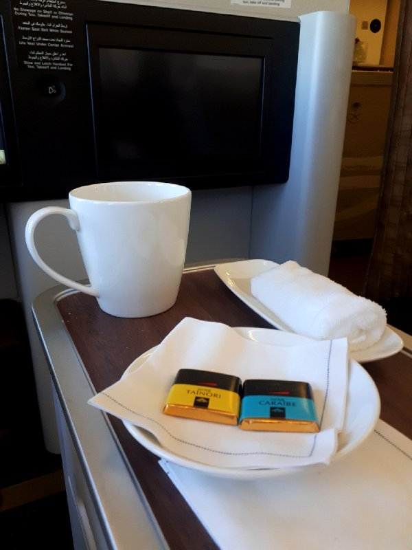 coffee chocolates saudia business class review