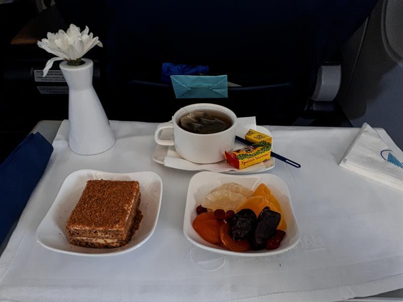 azerbaijan airlines business class dessert tea fruit