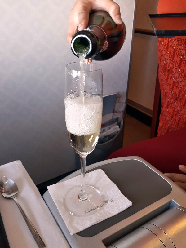 champagne garuda indonesia business class review boeing 737