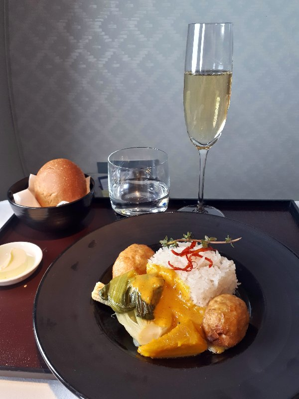 chicken lemongrass garuda meal food business class review