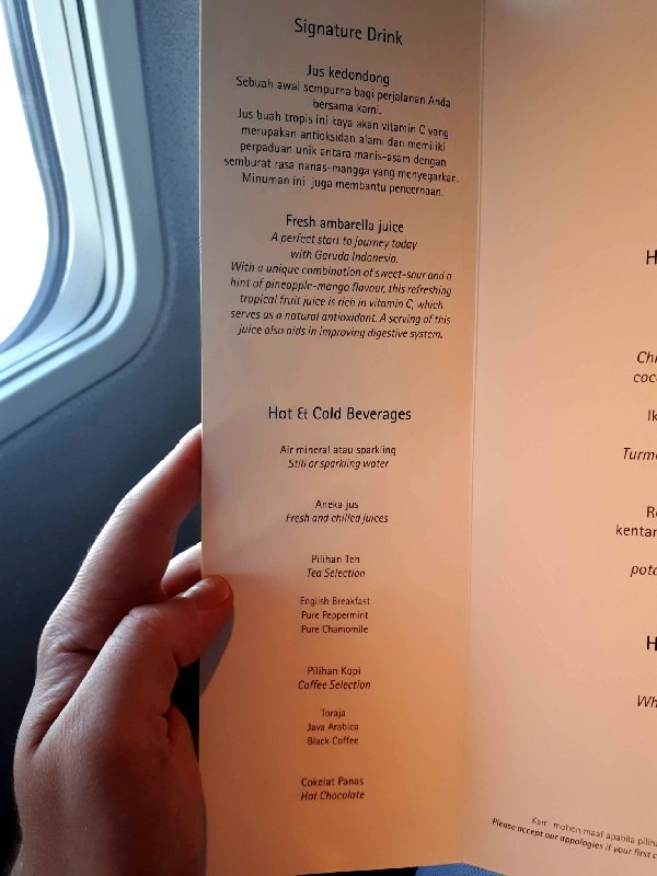 garuda business class menu