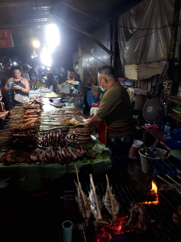 grill meat fish street food luang prabang