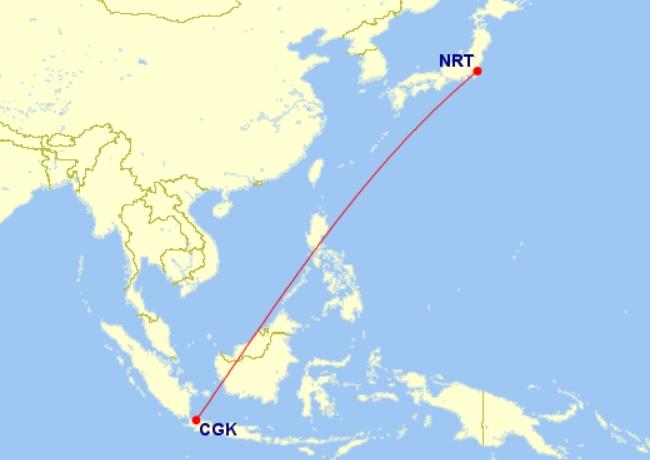 jakarta tokyo narita route map