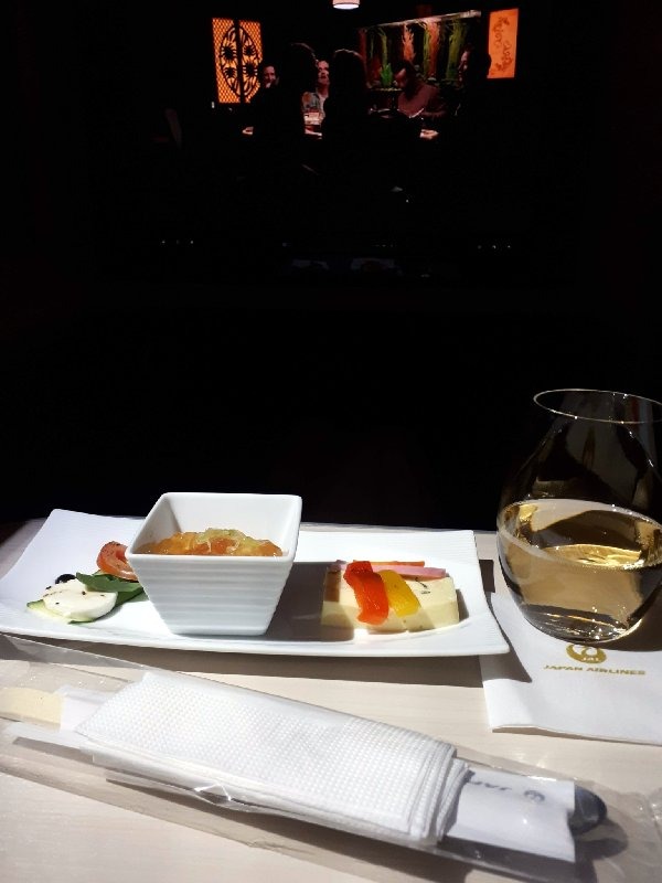 jal japan airlines business class snack boeing 787 review