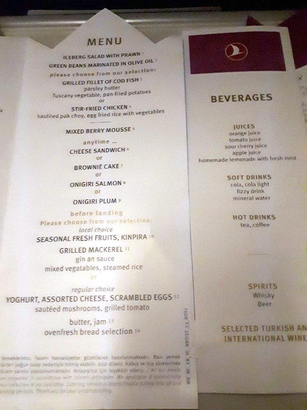 turkish menu economy class