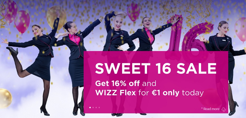 wizz air sweet 16 discount campaign