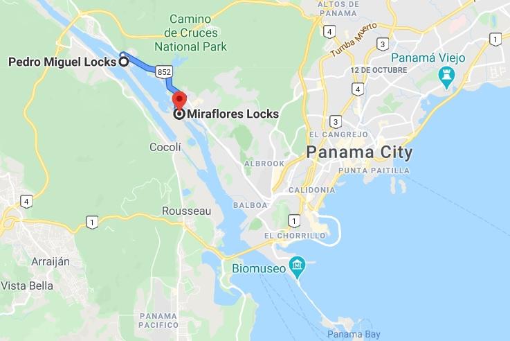 panama canal locks map