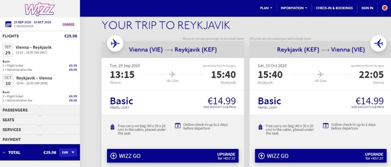 cheap flight vienna iceland reykjavik