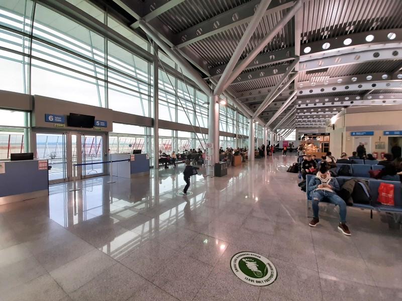 departure area podgorica airport airside