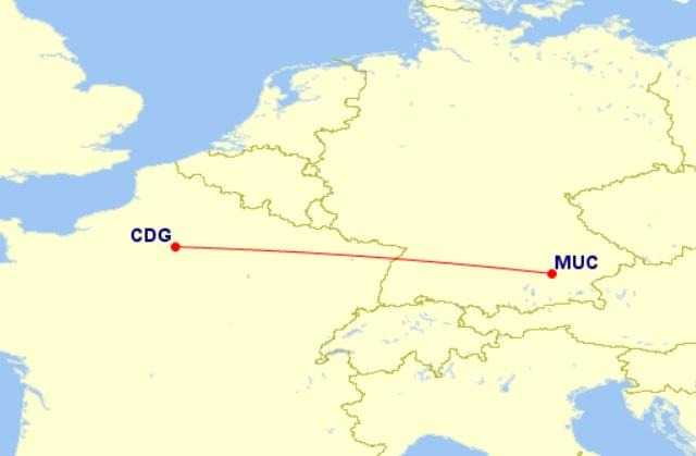 munich paris map