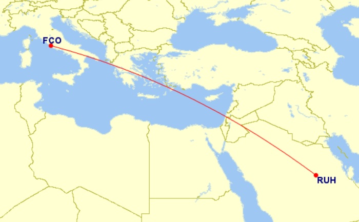 rome riyadh flight