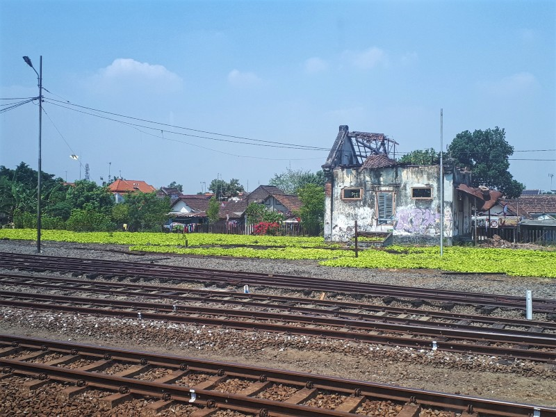 train window view indonesia railways