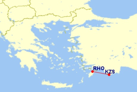kastellorizo rhodes flight map