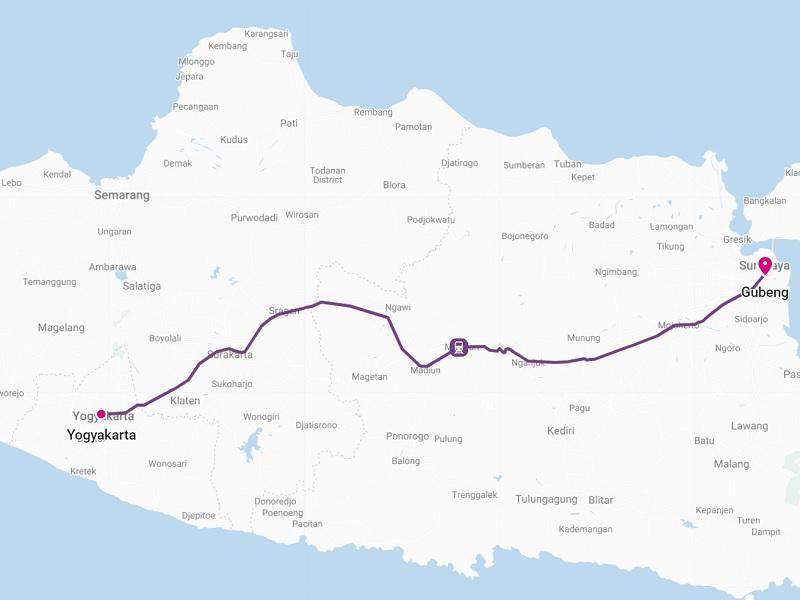 yogyakarta surabaya train indonesia