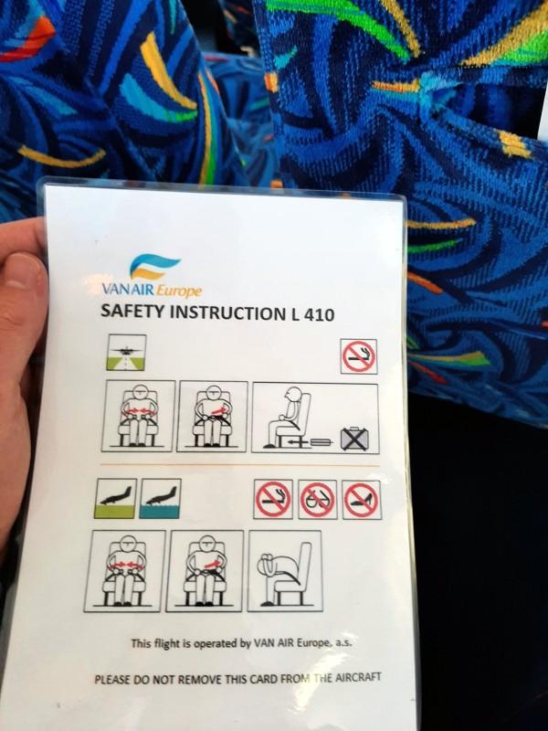 van air let l-410 turbolet safety card