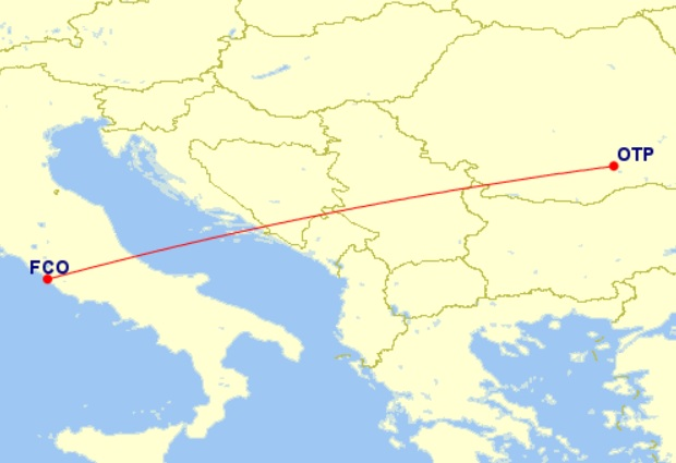 rome fiumicino bucharest tarom flight