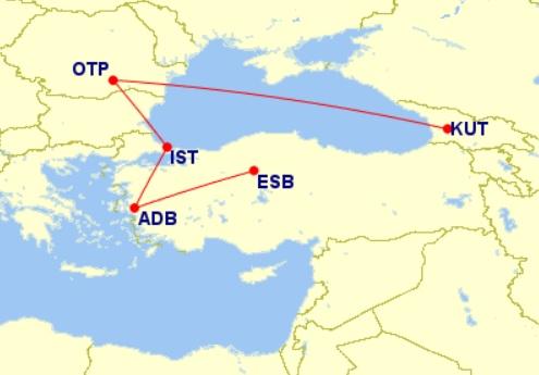 flight map georgia turkey
