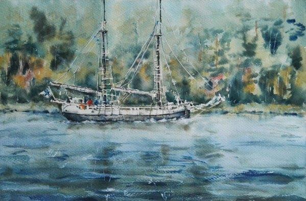 яхта пейзаж акварелью современная живопись