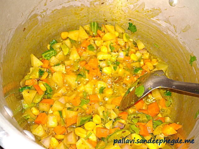 Vegetable Pulao: After adding vegetables and spices